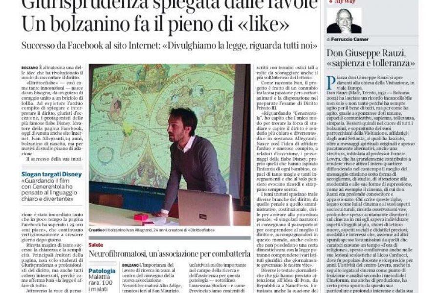 Corriere dell'Alto Adige – Giurisprudenza Spiegata dalle favole